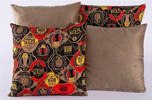 Kit 4 Almofadas Jacquard Decorativas Sala Sofá 40x40 Tabaco