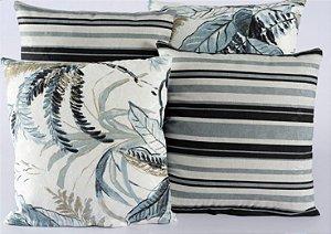 Kit 4 Almofadas Jacquard Decorativas Sala Sofá 40x40 Azul