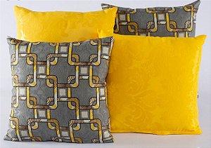 Kit 4 Almofadas Jacquard Decorativas Sala Sofá 40x40 Amarelo