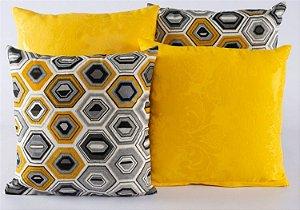 Kit Com 4 Capas Para Almofadas Decorativas De Sofá 40x40 Amarelo