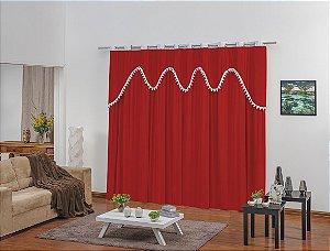 Cortina para Sala e Quarto Lucis 3,00 x 2,50m Vermelho