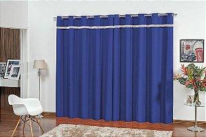Cortina para Sala e Quarto Vitória 2,00 x 1,80m Azul Royal