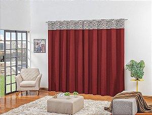 Cortina para  Sala e Quarto Domus 3,00 x 2,50m Vermelho