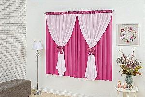 Cortina para Sala e Quarto Maria Clara 2,00 x 1,80m Pink