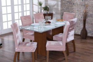 Capa para Cadeiras em Veludo para Sala de Jantar 4 Peças Rosa