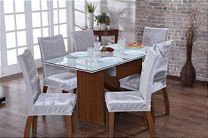 Capa para Cadeiras em Veludo para Sala de Jantar 4 Peças Prata