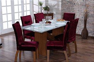 Capa para Cadeiras em Veludo para Sala de Jantar 6 Peças Vinho