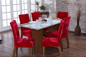 Capa para Cadeiras em Veludo para Sala de Jantar 6 Peças Vermelho