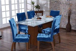 Capa para Cadeiras em Veludo para Sala de Jantar 6 Peças Turquesa