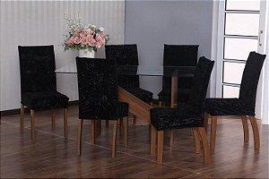 Capa para Cadeiras em Veludo para Sala de Jantar 6 Peças Preto