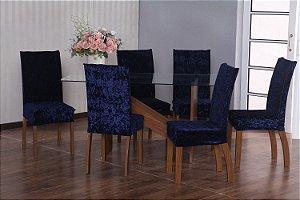 Capa para Cadeiras em Veludo para Sala de Jantar 6 Peças Azul Marinho