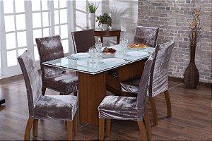 Capa para Cadeiras em Veludo para Sala de Jantar 6 Peças Avelã
