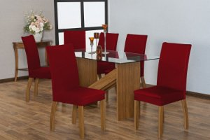 Capa para Cadeiras em Malha para Sala de Jantar 4 Peças Vermelha