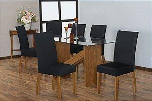 Capa para Cadeiras em Malha para Sala de Jantar 4 Peças Preto