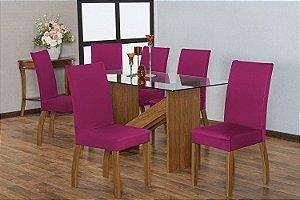 Capa para Cadeiras em Malha para Sala de Jantar 4 Peças Pink