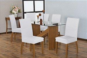 Capa para Cadeiras em Malha para Sala de Jantar 4 Peças Branca