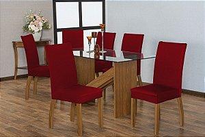Capa para Cadeiras em Malha para Sala de Jantar 6 Peças Vermelho