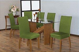 Capa para Cadeiras em Malha para Sala de Jantar 6 Peças Verde