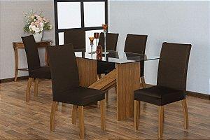 Capa para Cadeiras em Malha para Sala de Jantar 6 Peças Tabaco