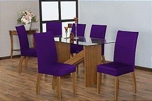 Capa para Cadeiras em Malha para Sala de Jantar 6 Peças Roxo