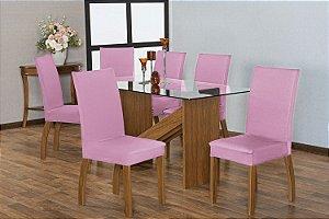 Capa para Cadeiras em Malha para Sala de Jantar 6 Peças Rosa