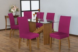 Capa para Cadeiras em Malha para Sala de Jantar 6 Peças Pink