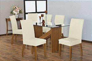 Capa para Cadeiras em Malha para Sala de Jantar 6 Peças Palha