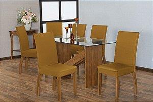 Capa para Cadeiras em Malha para Sala de Jantar 6 Peças Mostarda