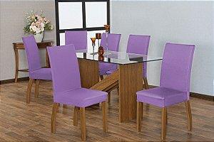 Capa para Cadeiras em Malha para Sala de Jantar 6 Peças Lilás