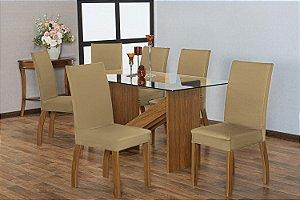 Capa para Cadeiras em Malha para Sala de Jantar 6 Peças Caqui