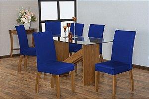 Capa para Cadeiras em Malha para Sala de Jantar 6 Peças Azul