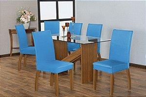 Capa para Cadeiras em Malha para Sala de Jantar 6 Peças Azul Claro