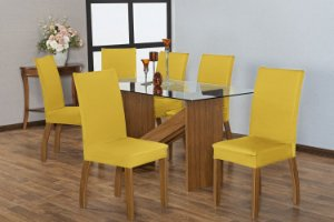 Capa para Cadeiras em Malha para Sala de Jantar 6 Peças Amarela