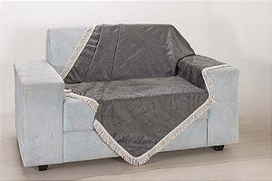 Xale para Sofá Decoração Sala Tecido Suede 1,50 X 1,50 Cinza