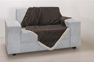 Xale para Sofá Decoração Sala Tecido Suede 2,90X1,50 Tabaco