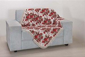 Xale para Sofá Tecido Jacquard 2,90 X 1,50 Vermelho Flores