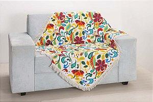 Xale para Sofá Decoração Sala Jacquard 2,90 X 1,50 Flores