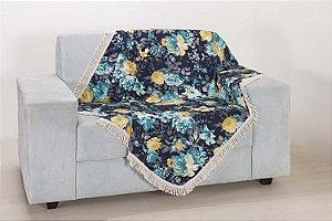 Xale para Sofá Decoração Sala Jacquard 2,90X1,50 Azul Escuro