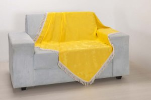 Xale para Sofá Decoração Sala Jacquard 2,90 X 1,50 Amarelo
