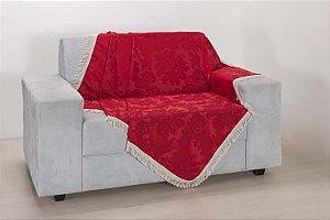 Xale para Sofá Decoração Sala Jacquard 1,50 X 1,50 Vermelho