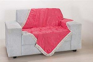 Xale para Sofá Decoração Sala Jacquard 1,50 X 1,50 Rosa