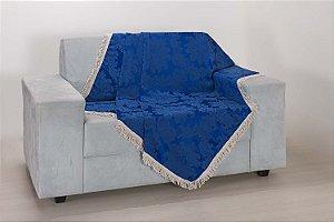 Xale para Sofá Decoração Sala Jacquard 1,50X1,50 Azul Escuro