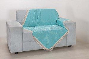 Xale para Sofá Decoração Sala Jacquard 1,50X1,50 Azul Claro