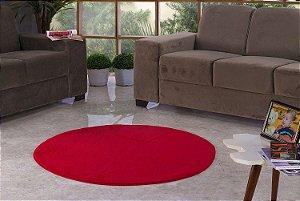 Tapete Para Sala e Quarto Pelúcia Liso Redondo Vermelho