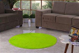Tapete Para Sala e Quarto Pelúcia Liso Redondo Verde