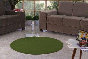 Tapete Para Sala e Quarto Pelúcia Liso Redondo Verde Musgo
