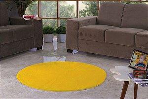 Tapete Para Sala e Quarto Pelúcia Liso Redondo Amarelo