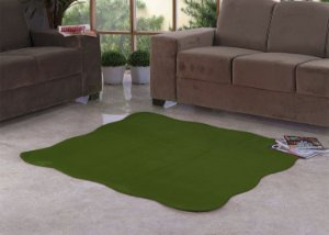 Tapete Para Sala e Quarto Pelúcia Liso Ondulado Verde Musgo