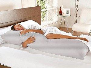 Travesseiro De Corpo Com Fronha Cetim Charrmousse Prata