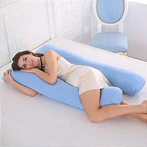 Travesseiro De Corpo Grande Gestante Gravida Anatômico Azul